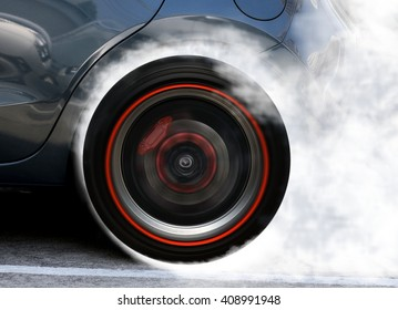 Super car wheel drifting and smoking on track
