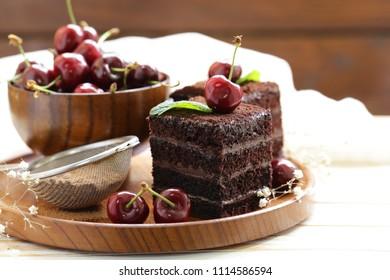 super chocolate truffle cake with fresh berries