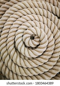 Super close up of a thick rope in shape of a spiral