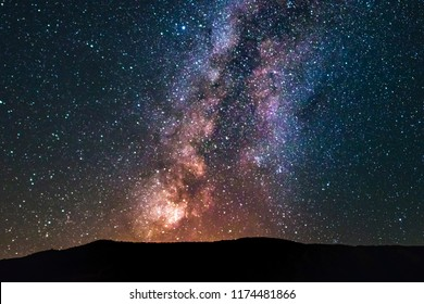 Super colorful milky way galaxy in the sky full of stars.