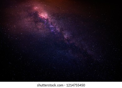 Super colorful Milky way galaxy with full of stars and space dust in the universe .