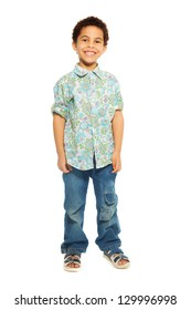 Super cute happy 5 years old black boy isolated on white, full height portrait