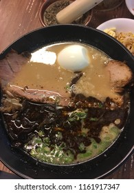 Super delicious Black Spicy Tonkotsu Ramen with rich flavor broth. The ramen come with topping such as pork chasyu and onsen egg. It is a famous dish from Japan.