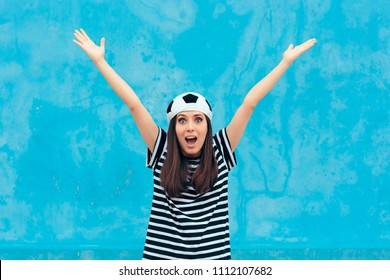 Super Excited Happy Soccer Football Female Fan. Sports team supporter cheering for the win