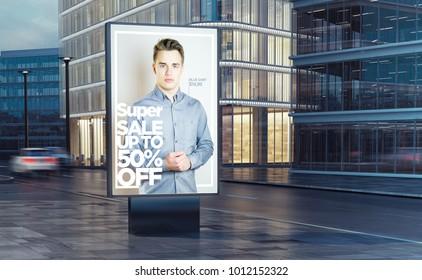 super fashion sale  billboard on the street 3d rendering