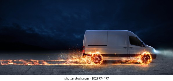 Super fast delivery of package service with van with wheels on fire.3d rendering