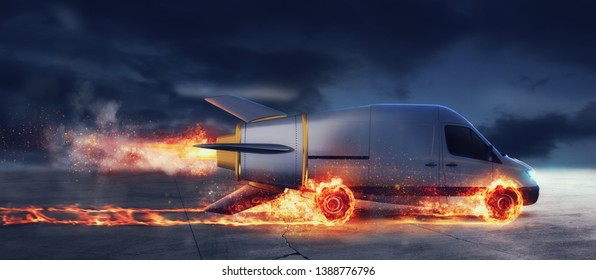 Super fast delivery of package service with van like a rocket with wheels on fire
