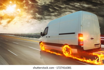 Super fast transportation service with a white van with wheels on fire
