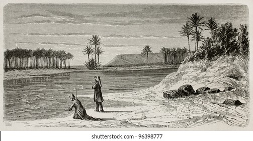 Super flumina Babylonis: old illustration of  Babylonian river inspired to Orlando di Lasso motet. Created by De Bar after Lejean, published on Le Tour du Monde, Paris, 1867