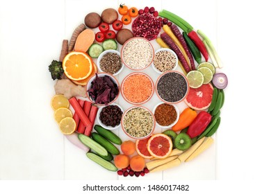 Super food for healthy living with legumes, seeds, grains, fruit, vegetables, herbs, spice, pollen grain  coffee. High in antioxidants, anthocyanins, dietary fibre, minerals &  vitamins. Flat lay.