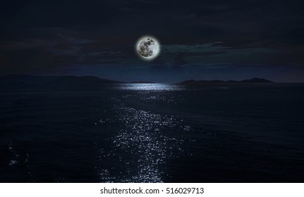 Super Fullmoon reflected over the Mediterranean