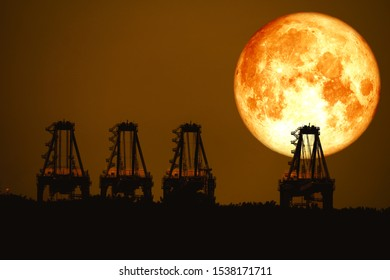 super harvest moon on night sky back  over silhouette cranes in seaport, Elements of this image furnished by NASA