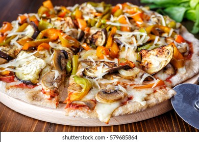 Super Healthy  Whole Wheat Roasted Vegetable and Mushroom Pizza