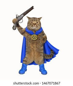 The super hero in a blue cloak and boots holds a flintlock pistol. White background. Isolated.