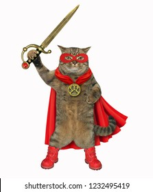The super hero cat in a red cloak and a mask holds a sword. White background.