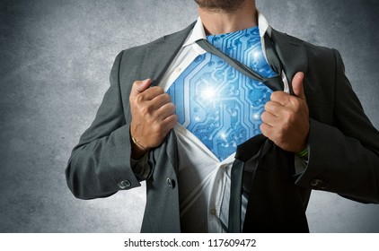 Super hero with computer circuit