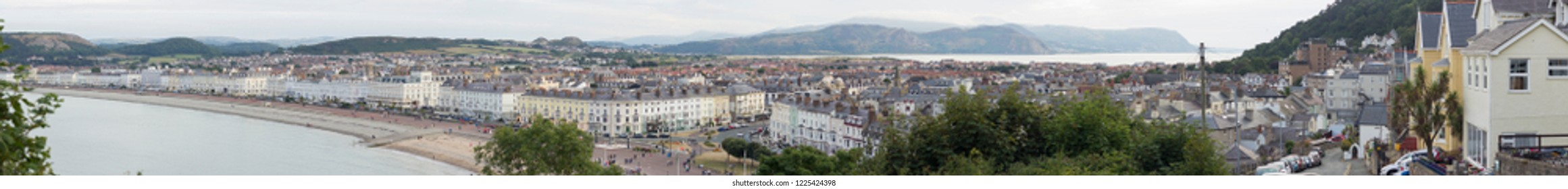 Super high resolution extra wide panorama of a lovely town in North Wales, UK - Llandudno