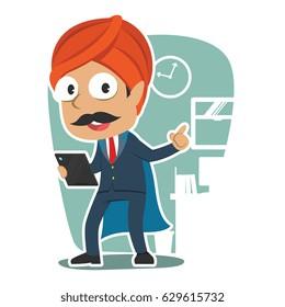 super indian businessman holding tablet