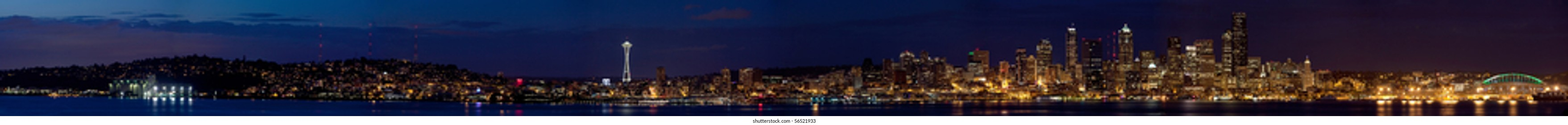 Super long Banner of Seattle Skyline at night - use as a banner on webpage or border!