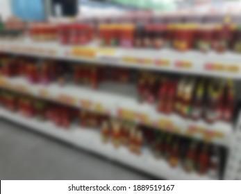 Supermarkt-Inneneinrichtung, unscharfer Hintergrund
