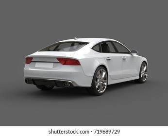 Super modern white business car - rear view - 3D Illustration