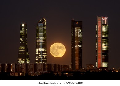 Super moon at Four Towers Skyline. Madrid, Spain.