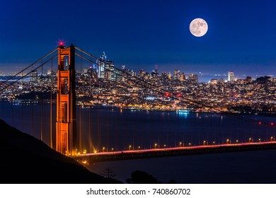 """Super moon"" in November 2016, looking at Golden Gate Bridge from Marin Headlands."