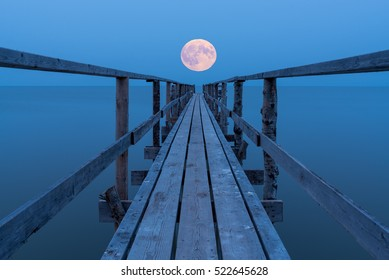 Super moon rising over lake Winnipeg