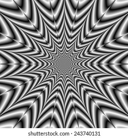 Super Nova in Black and White / A digital abstract fractal image with an exploding star design in black and white.