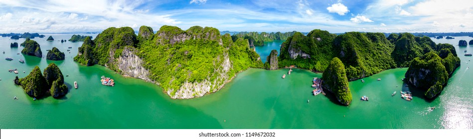 Super panorama Karst Island Landscape In Halong Bay, Vietnam. High quality image from above (drone)