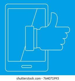 Super phone icon blue outline style isolated  illustration. Thin line sign