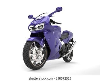 Super purple sports motor bike - front wheel closeup shot - 3D Illustration