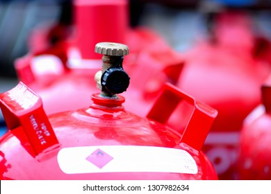 super red propane gas bottle of a roofer