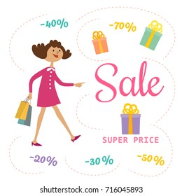 Super sale Concept. Cartoon retro style. Cute baby girl shopping by special bonus. Discount offer promotion. Design element of seasonal hot deal banner. Background for advertisement event illustration