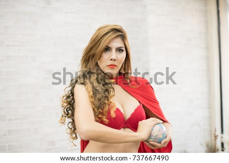 7394d73bd Super Sexy Girl Sexy Red Dress Stock Photo (Edit Now) 737667490 ...