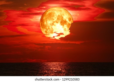 super snow blood moon back on night sky silhouette cloud, Elements of this image furnished by NASA