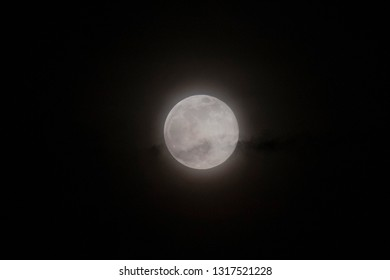 Super Snow Moon, February Full Moon that is the biggest Super Moon of 2019. Eindhoven, The Netherlands - February 19, 2019