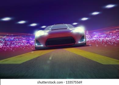 Super Sportscar on track 3D