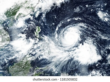 Super Typhoon Mangkhut September 2018 blew into Philippine islands -  All images are altered and improved from elements image furnished by NASA.