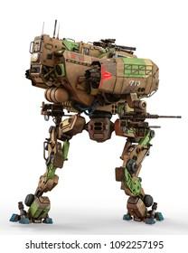 super war machine on green camouflage 3d illustration