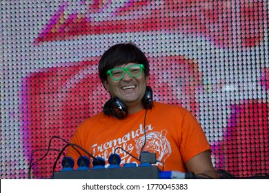 the super well-known in Spain Dj Wally Lopez plays at the Rock in Rio festival a great session of techno and deep house on June 6, 2012 in his third edition of the festival in Madrid