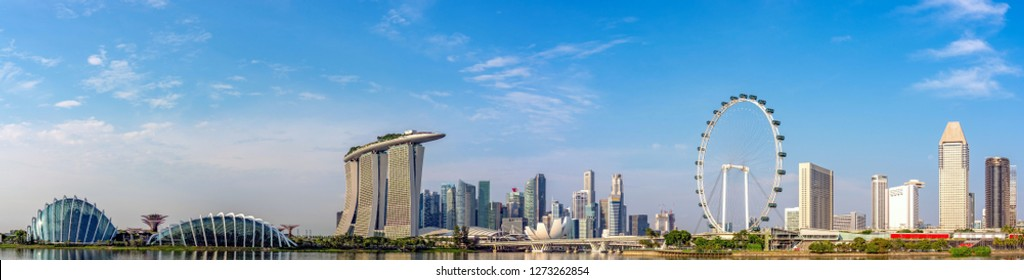 Super Wide panorama of Singapore Skyline with skyscrapers