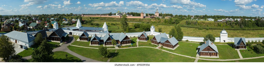 Super wide panorama of Suzdal with cells of the Pokrovsky monastery (foreground) and the Spaso-Evfimiev monastery (background)