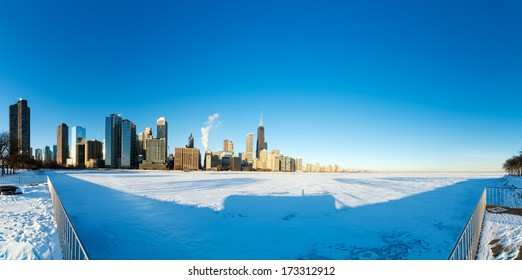 Super wide panorama view of skyscrapers in downtown Chicago