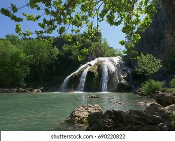 Super wide shot of Turner Falls, Arbuckle Mountains, Oklahoma