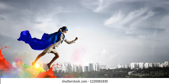 Super woman in sky