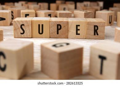 super word written on wood block