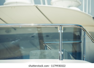 Super yacht. Luxury yachts in the port. Elements of construction. Details