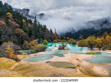 Superb colorful ponds in Huanglong National Park near Jiuzhaijou - SiChuan, China