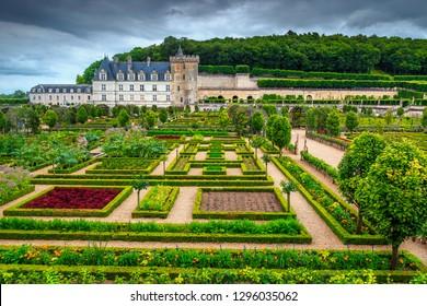 Superb excursion destination, magnificent famous Villandry castle, colorful ornamental garden with flowers and vegetables, Loire valley, France, Europe